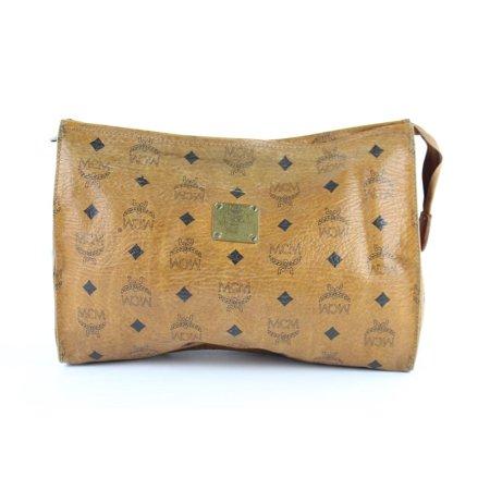 Cognac Monogram Visetos Zip Pouch Clutch 231164 Brown Coated Canvas Wristlet (Monogram Clutch Wristlet)