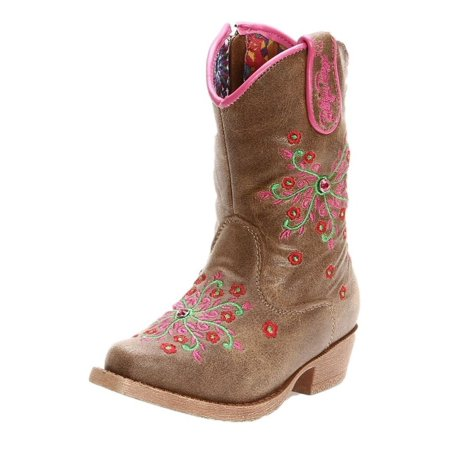 Blazin Roxx Western Boots Girls Savvy Cowboy Kids Floral Brown 4410202 - Girly Cowboy Boots