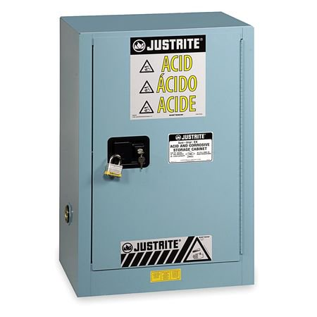 JUSTRITE 891222 Corrosive Safety Cabinet, 12 gal., Blue