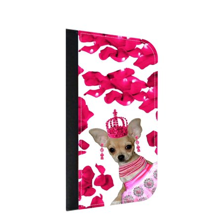 Chihuahua Dancer and Rose Petals in Pink - Wallet Style Cell Phone Case with 2 Card Slots and a Flip Cover Compatible with the Standard Apple iPhone X - iPhone 10 Universal
