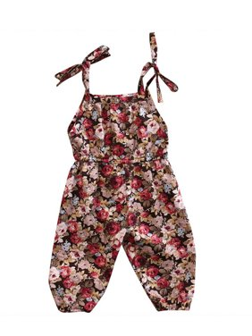 Infant Baby Girl Sleeveless Floral Romper Jumpsuit Overalls with Straps Summer Outfit
