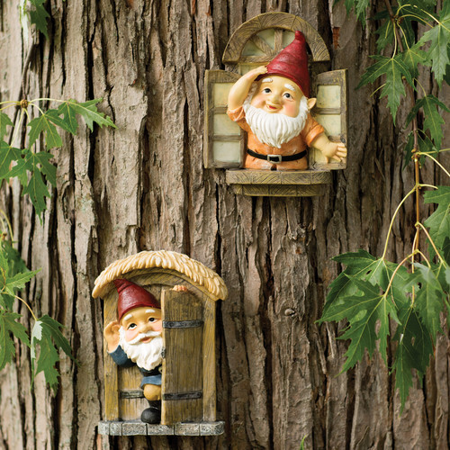 Design Toscano The Knothole Gnomes 2 Piece Garden Welcome Tree Statue Set by Design Toscano