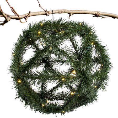 "Large 20"" Lighted Evergreen Wreath Sphere With Timer Christmas Décor Holiday Decoration Indoor Outdoor, Greenery Swag Large Christmas Wreath"