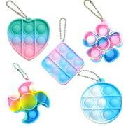 5 Pack Mini Bubble Popper Keychain Fidget Toy - STEM Anxiety Relief Items Popper Fidget Educational Toys for ADHD Autism Special Needs Toys Children, Family and Friends