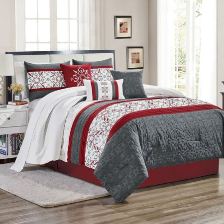 11 Piece Camila Burgundy/Charcoal Bed in a Bag w/600TC Cotton Sheet Set Cotton Bed Bag