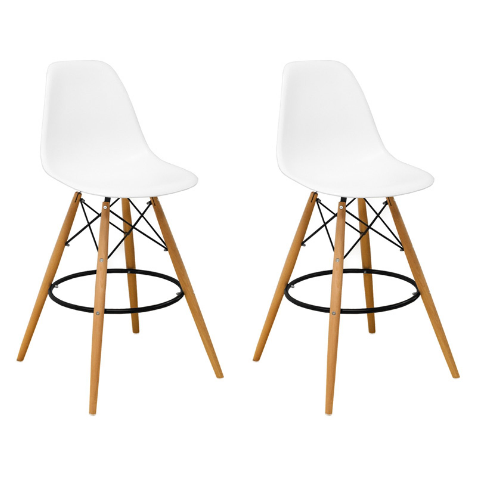 Paris Tower Mid Century Modern Barstool- Set of 2 (White)