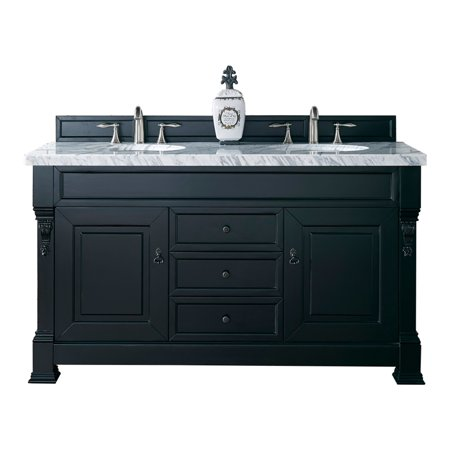 "Brookfield 60"" Antique Black Double Vanity 4CM Carrara White Marble Top"