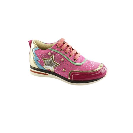 Glitter Star Shoe - Liyu Adult Pink Glitter Star Applique Studded Fashion Sneakers