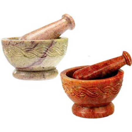 Fortune Telling Toys Celtic Soapstone Grinding Herb Mortar Pestle Set Colors Vary 4""
