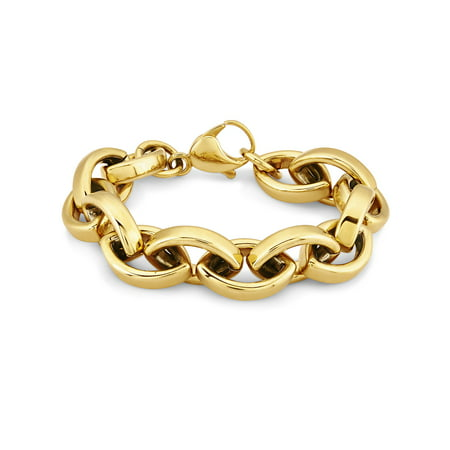 Gold Plated Stainless Steel Oval Link Chain Bracelet B C Gold Bracelets