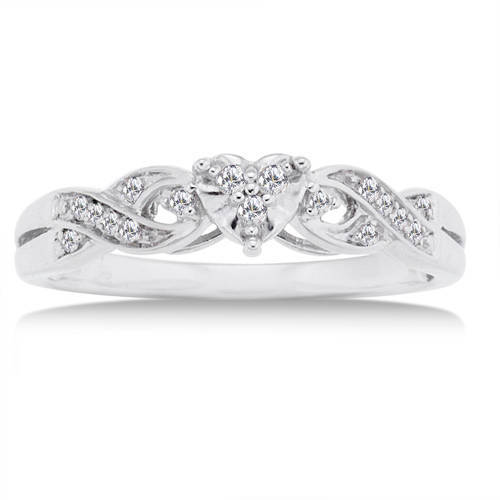 1 10 carat diamond 10kt white gold heart promise ring walmart