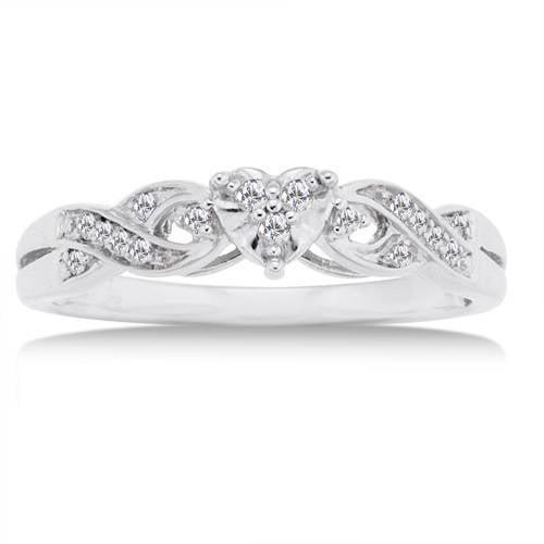 1/10 Carat Diamond 10kt White Gold Heart Promise Ring