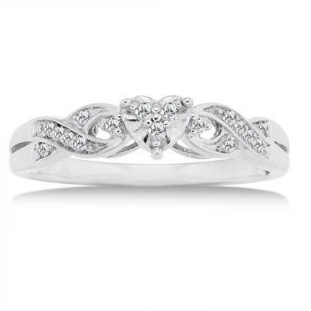1 10 Carat Diamond 10kt White Gold Heart Promise Ring