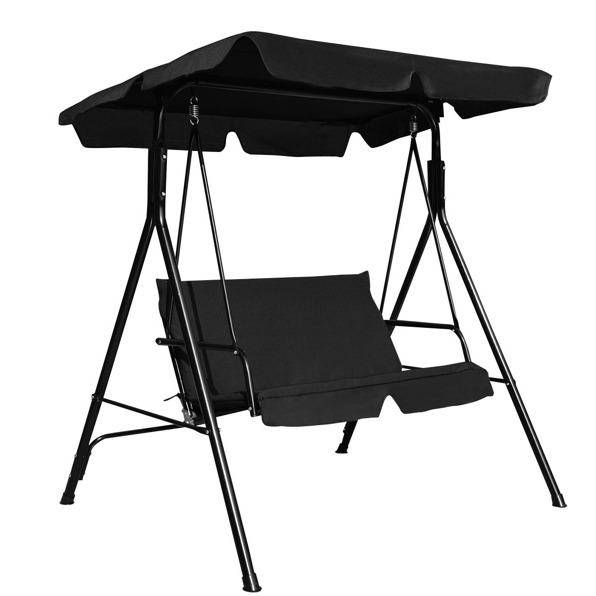 "GHP Outdoor Black 55.1""Lx43.3""Wx60.2""H Durable 2-Seats Swing Canopy Hammock Chair"
