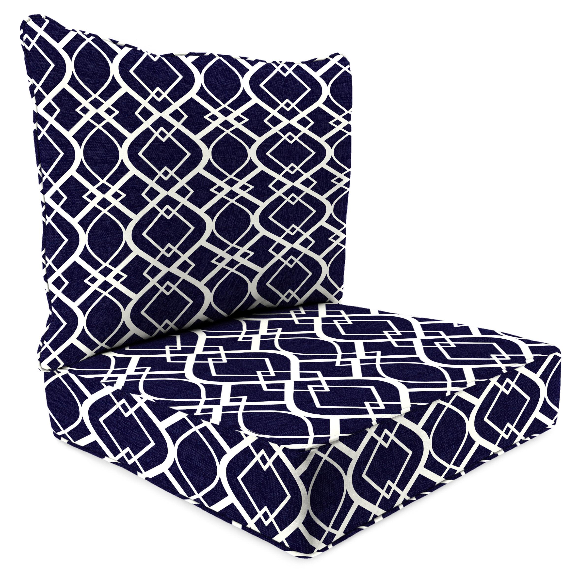 Jordan Manufacturing Mainstays Navy Trellis Outdoor Deep Seating Cushion Set