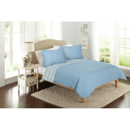 Blue Full Comforter (Better Homes & Gardens Solid Front Reverse Stripe Quilt )