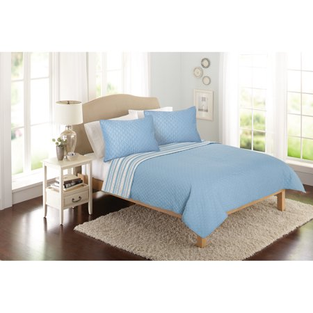 Better Homes & Gardens Solid Front Reverse Stripe Quilt