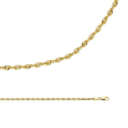Rope Chain Solid 14k Yellow Gold Necklace Twisted Diamond Cut Genuine Classic Light , 3 mm - 18,20,22,24,26 inch ()