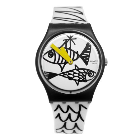 98eb0a7b2689 Swatch - Swatch GB303 Pesciolini Black White Fish Print Dial Silicone Band  Watch New - Walmart.com