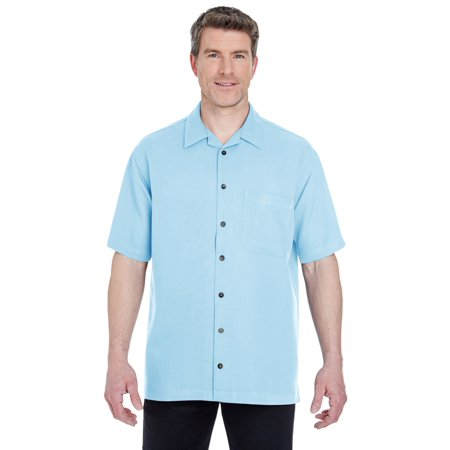 UltraClub Men's Microfiber Cabana Sand Washed Camp Shirt