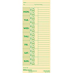 Office Depot Time Cards With Deductions, Weekly, Monday-Sunday Format, 2-Sided, 3 3/8in x 8 7/8in, Manila, pk Of 100, GB-735104
