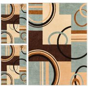 Wheelhouse Modern Abstract Geometric Contemporary Multi Blue Beige Ivory Brown Green 3 Piece Living Dining