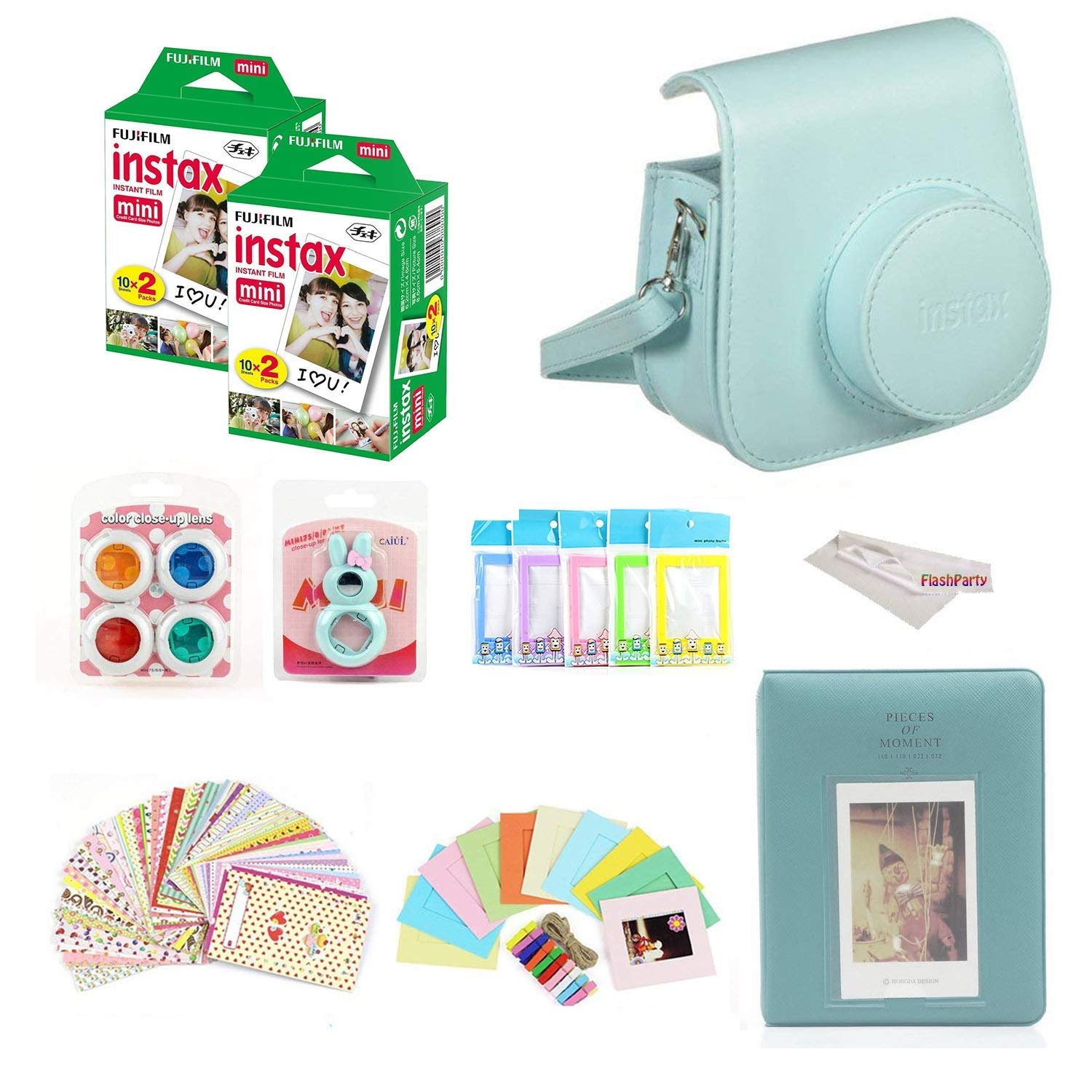 Fuji Instax Mini Instant Film Two Twin Packs (40 Sheets) + Protective Case + 40 Sticker Frames + Picture Frames + Photo Album + Microfiber Cleaning Cloth + More Accessories (Ice Blue)