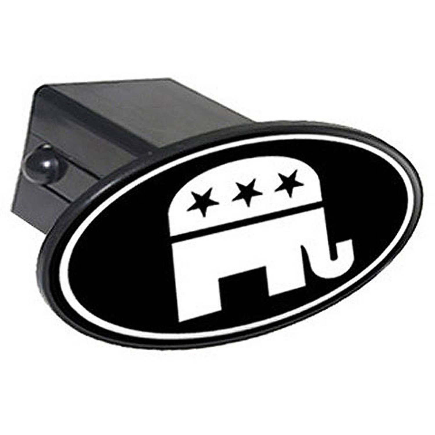 "Republican Elephant White On Black 2"" Oval Tow Trailer Hitch Cover Plug Insert"