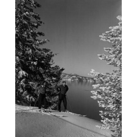 USA Oregon couple cross-country skiing by Crater Lake Canvas Art - (18 x 24)