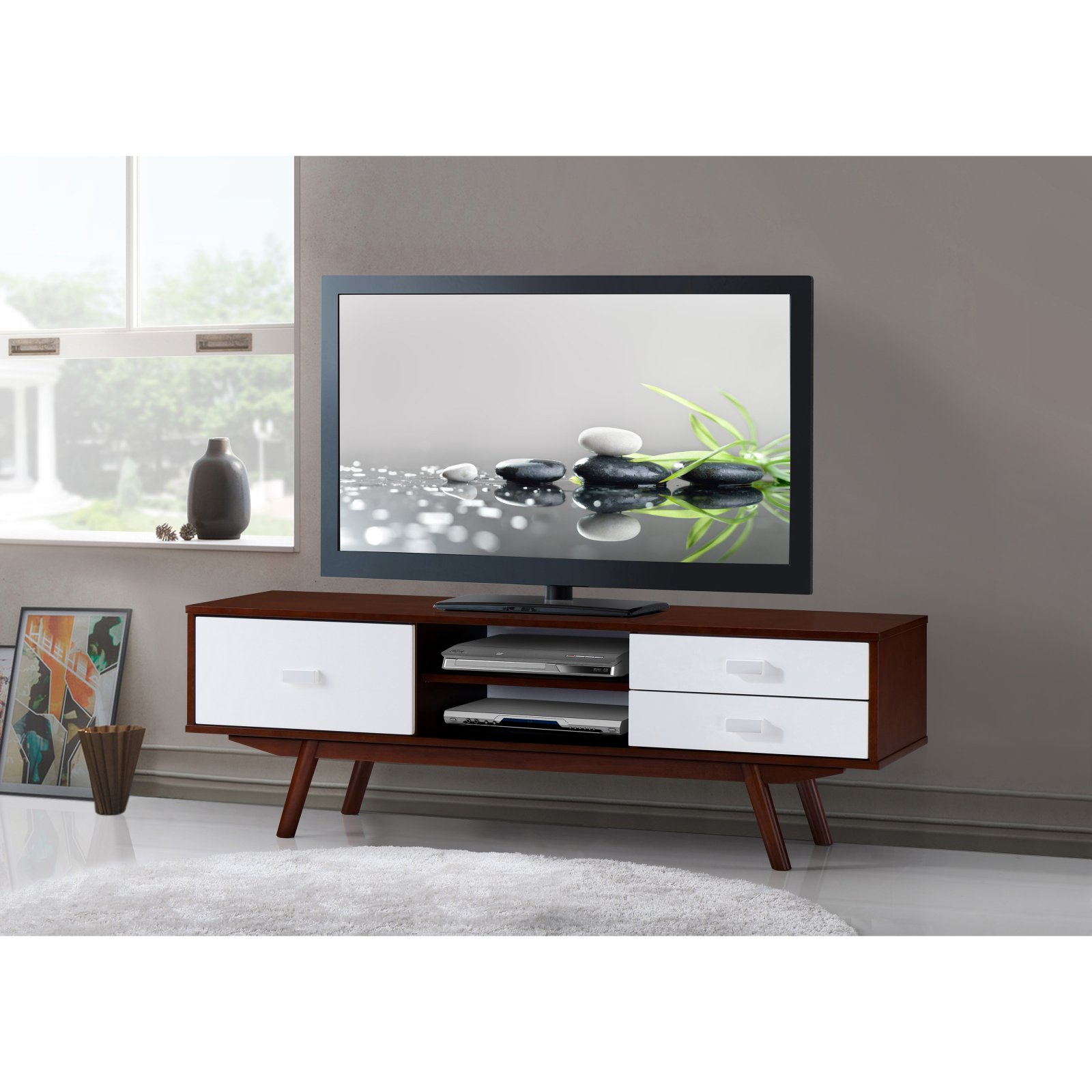 "Techni Mobili 55"" Retro Wood TV Stand for TVs up to 65"" with Storage, Walnut"