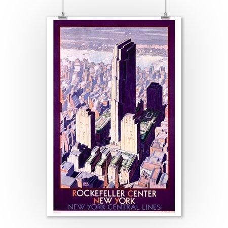 New York Central Lines - Rockefeller Center Vintage Poster (artist: Ragan) USA c. 1933 (9x12 Art Print, Wall Decor Travel Poster)