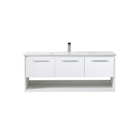 48 inch Single Bathroom Floating Vanity in White - Walmart.com