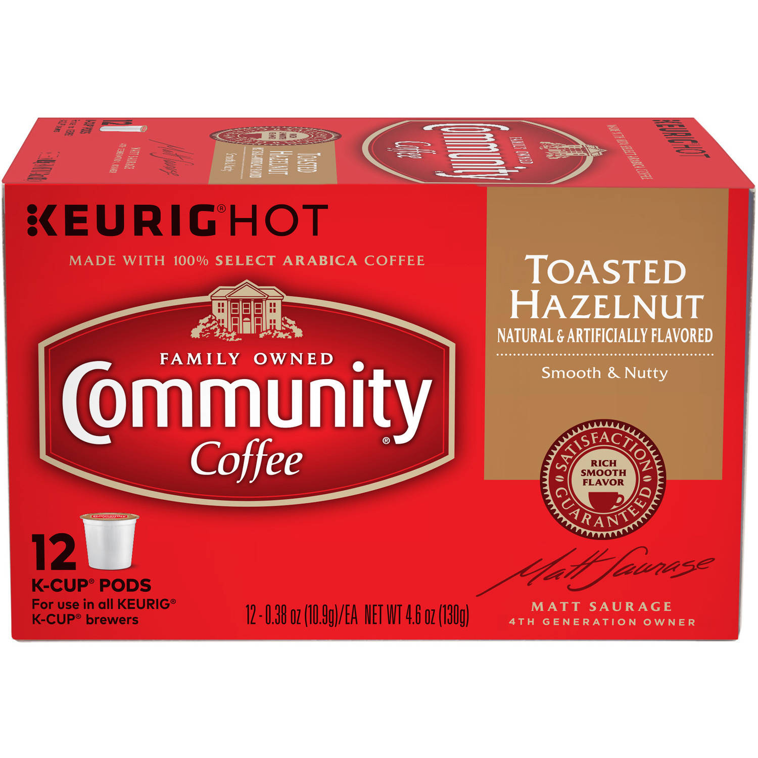 Community Coffee Hazelnut Medium-Dark Roast Coffee Single Serve Cups, 12 count, 4.65 oz