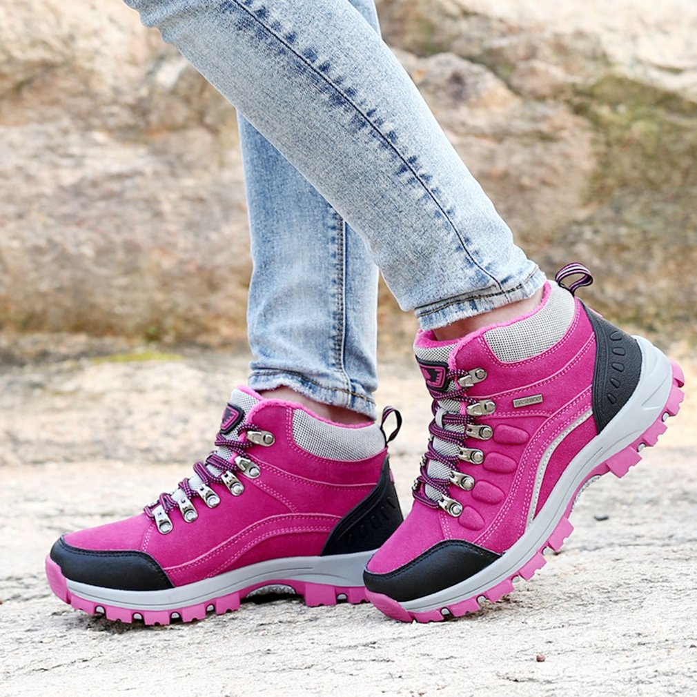 Plum Purple Winter Outdoor Plus-Down Warm Climbing Shoes Lace-up Women Hiking Boots Casual Sports Anti-slip Breathable Shoes