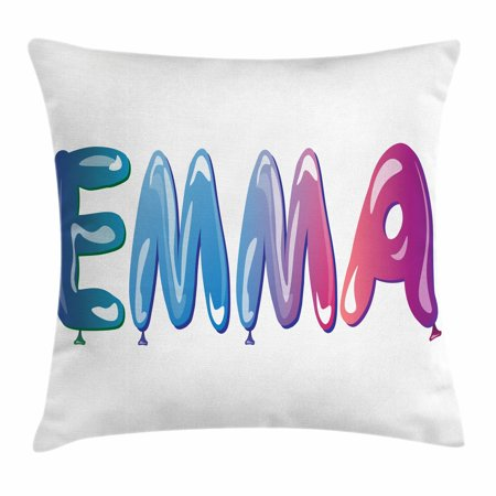 Emma Throw Pillow Cushion Cover, Feminine Girl Name Design with Ornate Balloons Mainstream Female Themed Illustration, Decorative Square Accent Pillow Case, 24 X 24 Inches, Multicolor, by Ambesonne