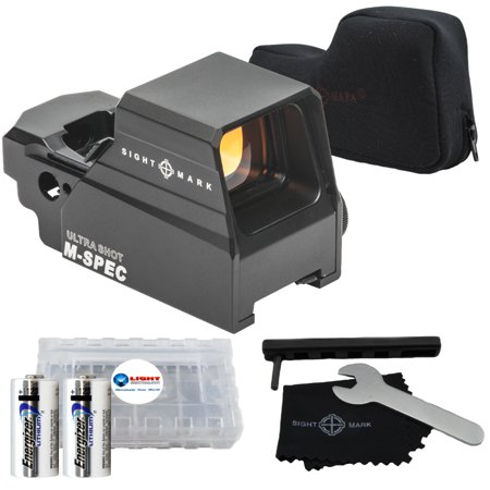 Sightmark Ultra Shot M-spec LQD Reflex Sight SM26034 Bundle with 2 Energizer CR123's and Lightjunction Battery