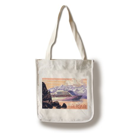 Alaska - Cruise Ship & Sunset - Lantern Press Poster (100% Cotton Tote Bag -