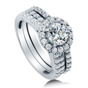Rhodium Plated Sterling Silver Cubic Zirconia CZ Halo Engagement Insert Ring Set Size 10.5
