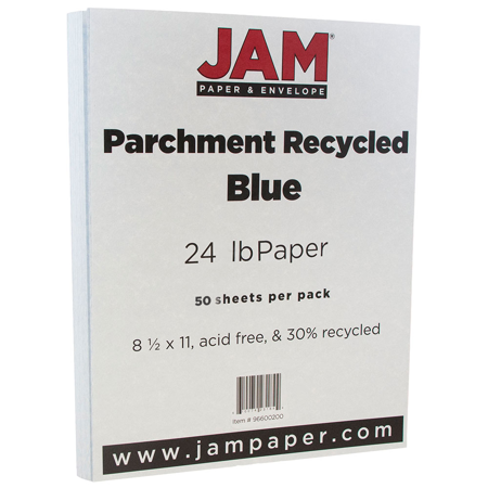 JAM Paper Parchment Paper, 8.5 x 11,24 lb Blue Recycled,50 Sheets/Pack