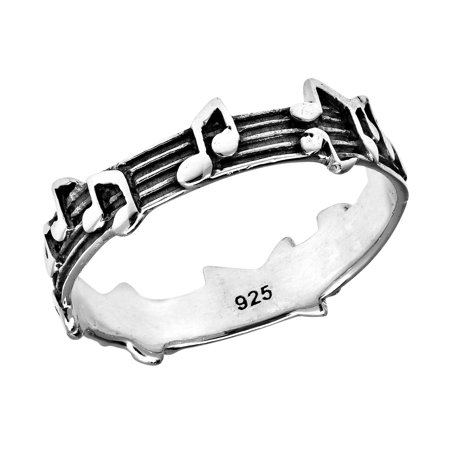 Whimsical Melody Musical Notes .925 Sterling Silver Band Ring