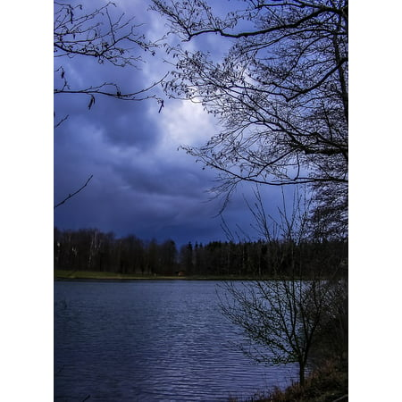 Canvas Print Bank Nature Pond Lake Water Cold Waters Stretched Canvas 10 x  14