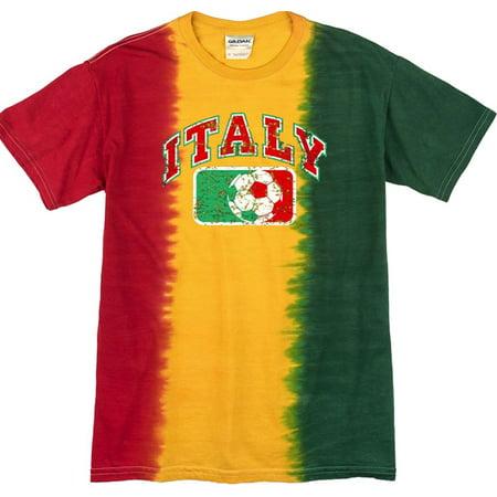 Mens Tie Dye Italy Italia Futbol Soccer T-shirt, LG