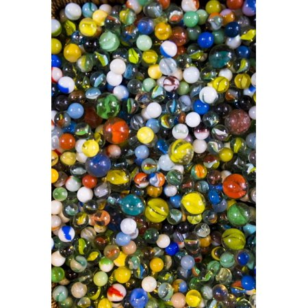 Pile of glass marbles, Williamsburg, Brooklyn, New York, Usa. Print Wall Art By Julien McRoberts ()