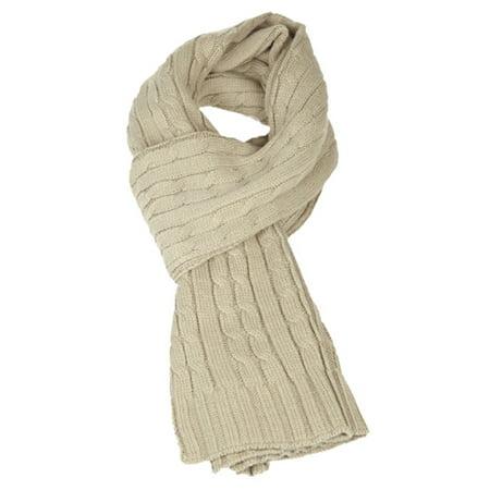 Sakkas Ellington Unisex Knit Scarf - Cable Knit Khaki - One Size