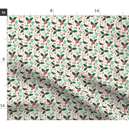 Christmas Tree Holiday Winter Trees Holly Fabric Printed by Spoonflower BTY ()