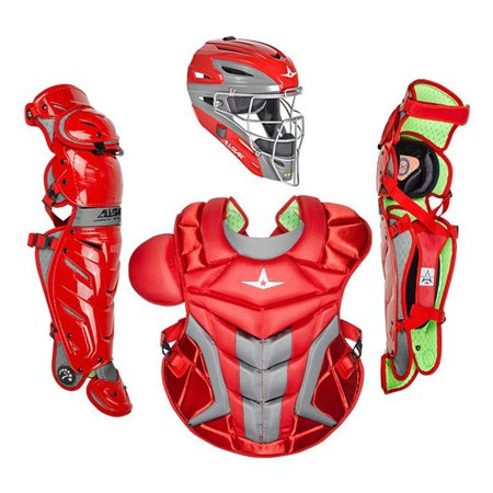 Baseball Softball Umpire Chest Protector - All-Star Sports S7 Axis Adult Pro Baseball Softball Catching Gear, Scarlet Red