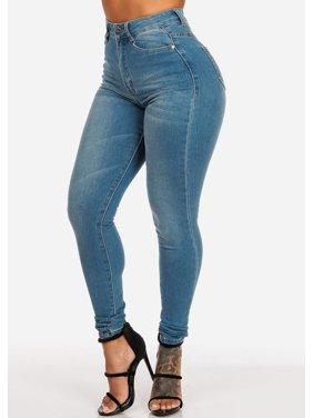 Womens Juniors Women's Junior Ladies Classic Casual Ultra High Waisted Light Wash 1 Buton Stretchy Skinny Jeans 10703W
