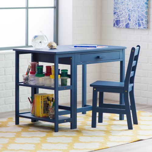 Lipper Writing Workstation Desk And Chair Navy Walmart Com