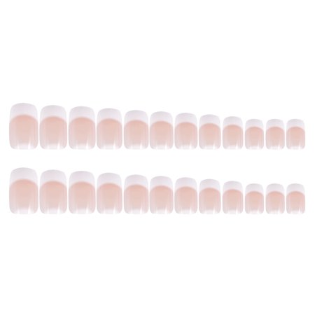 24Pcs Fake Fingernail Tips French Art Full Cover False Finger Nail Tips Set for DIY (Best Way To Get Fake Nails Off)
