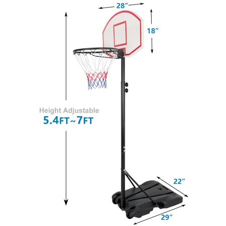 Portable Height Adjustable Basketball Hoop System Basketball Stand Height 5.4ft - 7ft Indoor Outdoor W/Wheels
